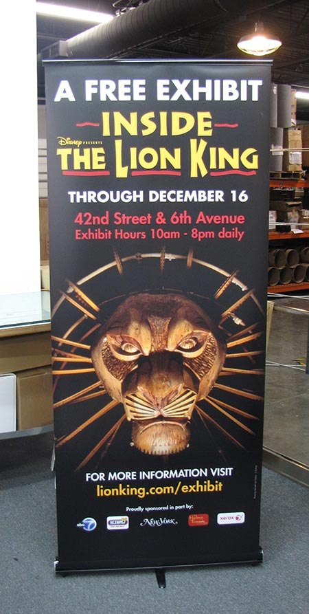 Banner stand produced for Lion King musical