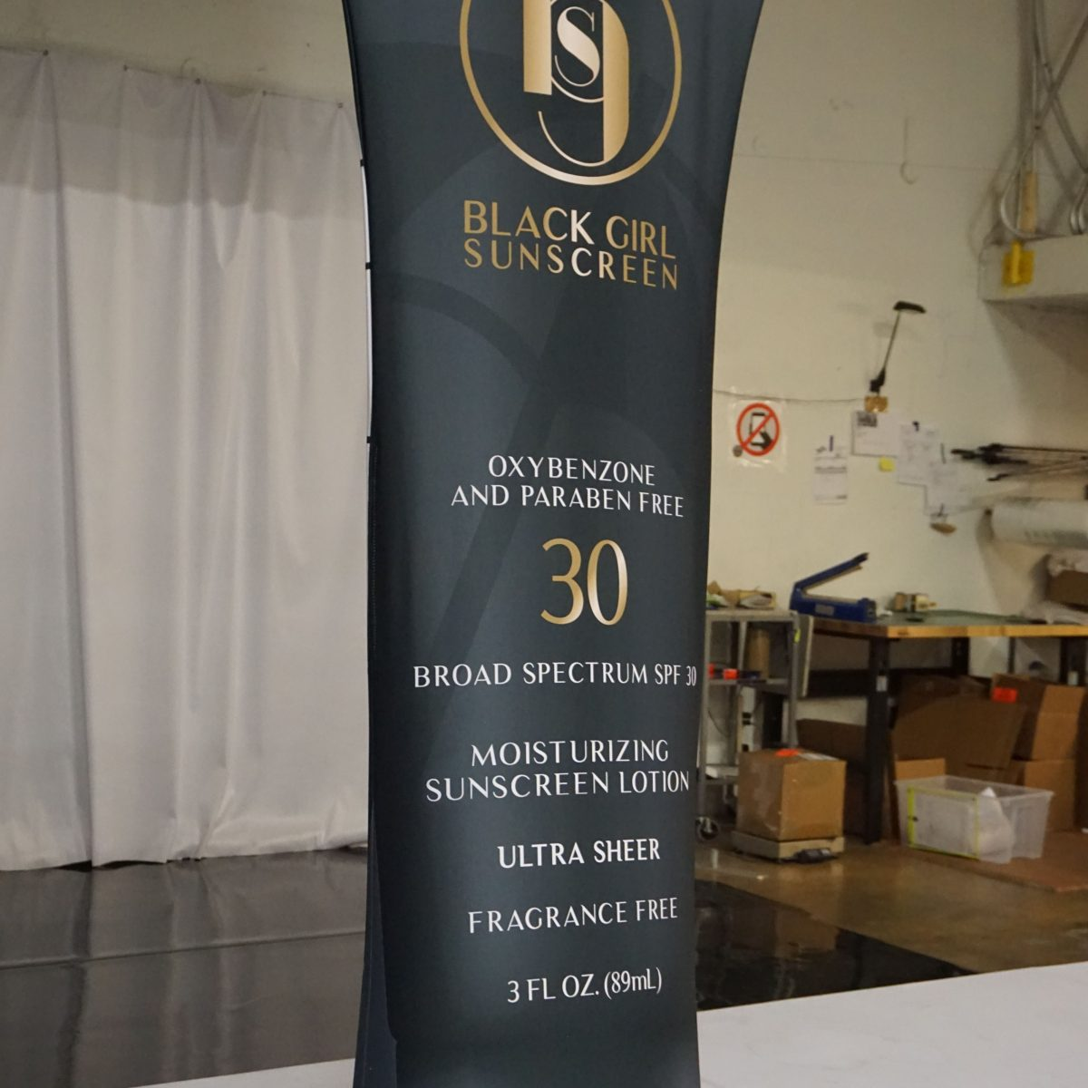 10) Black Girl Sunscreen Tension Fabric Banner Stand - 2